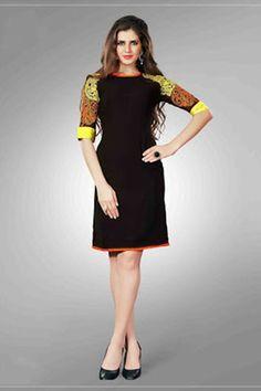 Attractive Black Colour Embroidery Designer Kurti
