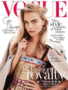 Queen Cara Delevingne in Dolce & Gabbana on Vogue Australia's cover.