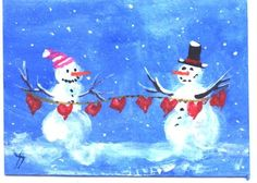 ACEO String of Hearts snowman print Jim Smeltz by jimsmeltzgallery, $3.00