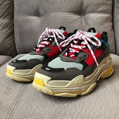 2d860a4d278b82 Brand New US Men Size 44 Balenciaga Triple S Trainer Sneakers in Red Blue  review Us