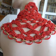 HANDMADE STATEMENT NECKLACE CROCHE FIBER ART AND BEADS RED AND GOLD SPECIAL GIFT