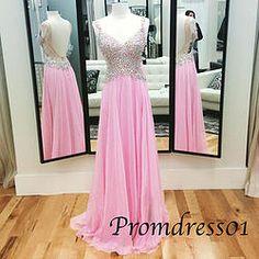 #promdress01 prom dresses - 2015 cute pink chiffon straps backless rhinestone A-line prom dress for teens, ball gown, occasion dress #prom2k15 #promdress -> www.promdress01.c... #coniefox #2016prom