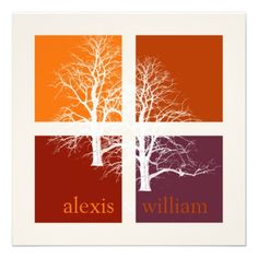 purple and orange fall wedding invitations - Google Search