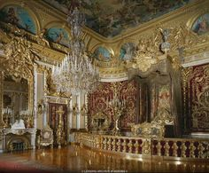NEO-BAROQUE INTERIORS:ALL 19TH   Dollmann,Georg von  Bedroom of Ludwig II at Herrenchiemsee Palace, built 1879-1881 by order of Ludwig II of Bavaria in homage to Ludwig XIV on Herrenchiemsee Island in Chiemsee Lake, Bavaria.   Palace, Herrenchiemsee, Germany
