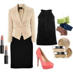 Cute work outfit with Mary Kay Mineral foundation, Mineral eye shadows and Creme Lipstick.