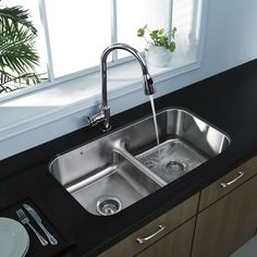 Vigo Premium Collection Undermount Stainless Steel double Kitchen Sink and Faucet