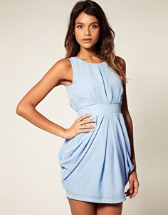 ASOS tulip dress with tie back in sky blue. $42.97.