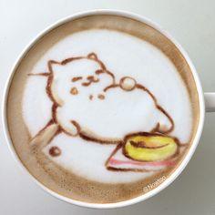 ねこあつめ まんぞくさん ラテアート Neko Atsume Cafe Latte Art  #ねこあつめ#まんぞくさん#latteart#cafe#coffee#cafeart#coffeeart#art#artsetfree#1_cafe#cafelatte#ラテアート#カフェラテ