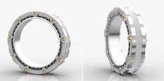 Stargate Wedding Band With Spinning Inner Ring