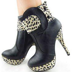 #Shoes Show Story Punk Leopard Print Button Zipper High Heel Platform Ankle Boots,FZ97301[Was: $79.99 - Buy Now: $28.99 ]  So cute...