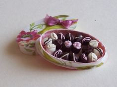 Oval chocolate box filled with tasty chocolates handmade 1/12th scale dollhouse miniature