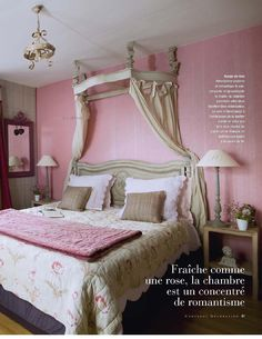 Romantic pink bedroom in this French home
