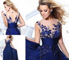 New Long Blue applique Prom Gown Evening/Formal/Party/Cocktail/Prom Dress