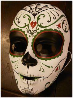 Miss Nebel: Cabaret, tribal, steampunk and tribal jewellery Sugar Skull Decor, Sugar Skull Art, Sugar Skulls, Harlequin Mask, Mascaras Halloween, Day Of The Dead Mask, Masks Art, Clay Masks, Cartoon Costumes