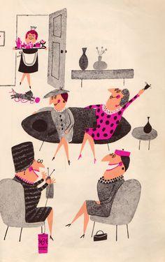 illustration : groupe de dames dans un salon, Aliki, gris - rose