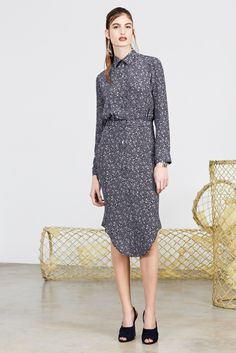 Look 8 - Navy and white confetti printed knee length silk shirt dress | Alexander Lewis Pre-Fall 2014 Fashion Show