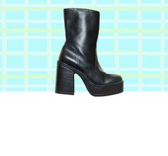 90s Black Chunky Platform Ankle Boots 1990s black by Idlized, $70.00