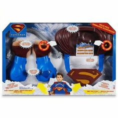 """Superman Role Play Value Pack - Punch N' Crush Gloves - Fight N' Fly Cape - Bendy Bar by Mattel. $19.99. Punch N' Crush Gloves with Bendy Bar - Makes Crushing Noises & Punching Sounds. Fight N' Fly Cape - 6 Flying Sounds, 6 Fighting sounds. A """"must"""" for Superman fans, this set includes the Fight N Fly Cape and the Punch N Crush Gloves to add an extra dimension of realism to role playing. The Fight N Fly Cape lets kids imagine that they are flying with motion-activated sou... Superman Kids, Role Play, Punch, Cape, Gloves, Electronics, Toys, Mantle, Activity Toys"""