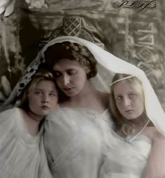 Crown Princess Marie of Romania with her daughter Princess Elisabeth of Romania and Princess Maria of Romania.