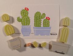 8 Piece Set Potted Cactus Stamp garden handmade by ArtfulSunshine