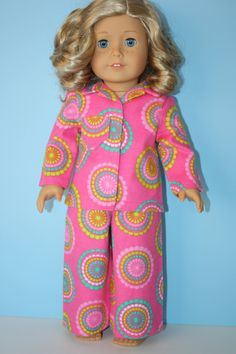 American+Girl+Doll+Clothes++Bright+Pink+Pajamas+by+JillianSews,+$17.00
