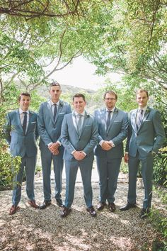 2014 Wedding Trends | Styled Grooms | These men look awfully nice in their grayed-blue suits!