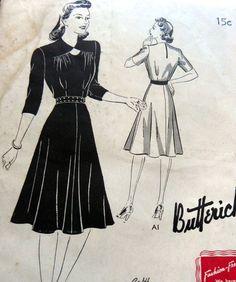 Lovely Vtg 1940s Dress Butterick Sewing Pattern 20 38 | eBay