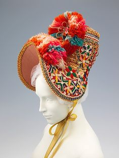 Bonnet | Spanish, 1854 | Materials: straw, wool, synthetic, cotton | The Metropolitan Museum of Art, New York