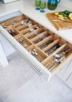 50 Smart DIY Kitchen Storage Solutions For Your Small Kitchen - Image 10 of 20 Kitchen Storage Solutions, Diy Kitchen Storage, Kitchen Cabinet Organization, Kitchen Drawers, Kitchen Cabinet Design, Home Decor Kitchen, Kitchen Furniture, New Kitchen, Kitchen Cabinets