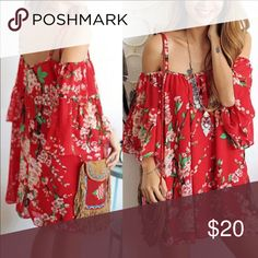 Red floral Mini Dress Cold shoulder super fun and easy to wear As a tunic or a mini dress.... semi sheer material.. manufacturer did not supply tag, therefore a boutique tag has been added... Size tag may have been removed from this article. NEW Dresses Mini