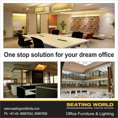 One stop solution for your dream office. #OfficeFurniture #OfficeLighting #Hyderabad SEATING WORLD: Office Furniture and lighting. E-mail: seatingwold@usa.net Sales Contact: office@seatingworldindia.com Ph: +91-40-66667642,66667695.
