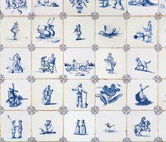 Delft Tile Wallpaper  by Sparrow & Kat  #Behang, #tegelmotief, blauwe, wit