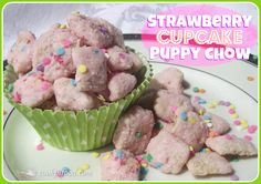 5 Cups Chex Cereal, 10 oz. Almond Bark (vanilla flavored), 1 ½ Cups Strawberry Cake Mix (dry), ½ Cup Powdered Sugar, 1-2 tsp. vegetable shortening, 2-3 Tbs. Sprinkles