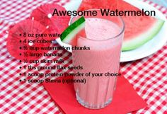 Awesome Watermelon #proteinshakerecipes #homemadeproteinshake  #jacked #protein #shakes #wheyprotein #postworkoutshake #buildmuscle #losefat Homemade Protein Shakes, Protein Shake Recipes, Healthy Shakes, Post Workout Shake, Milk Cup, Bariatric Recipes, Whey Protein, Lose Fat