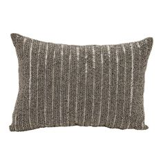 Michael Amini Beaded Stripes Pewter Throw Pillow