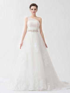 Find Wholesale - Princess One Shoulder Tulle Satin Sweep Train Ivory Appliques Wedding Dresses at Pickeddresses.com