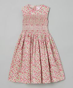 Look what I found on #zulily! Pink Floral Smocked A-Line Dress - Infant, Toddler & Girls #zulilyfinds