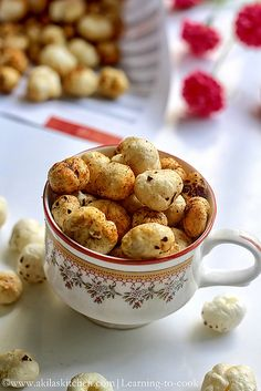 Roasted Lotus Seeds Snack / Roasted Phool Makhana - Puffed lotus seed are fried and served with little Indian Spices... A Guilt free and a low calorie snack...