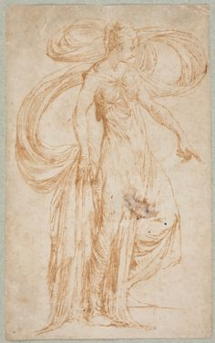 Parmigianino (Girolamo Francesco Maria Mazzola), 1503-1540, Italian, Circe, first half of the sixteenth century.  Pen and brown wash on paper: 12.5 x 7.5 cm.  Museo del Prado, Madrid.  Mannerism.
