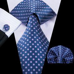 Navy Blue Little Purple Flower Polka Dot Silk Tie Pocket Square Cufflinks Set Luxury Ties, Cufflink Set, Tie Set, Tie And Pocket Square, Mens Fashion Suits, Little White, Stylish Men, Silk Ties, Purple Flowers