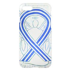 Blue and White Awareness Ribbon ALS Angel iPhone7 Case