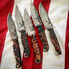 Half Face Blades | 5 Crow Scouts for some great Frogmen. Burl woods of different origin. Calico Jack, acid etched n stone washed.