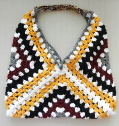 Oversized Modern Granny Square Market Tote Bag Lined by EvaVillain, $68.00
