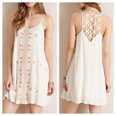 Embroidered shift dress with lattice racerback. Yummy!✨.  www.shopartifactsgallery.com