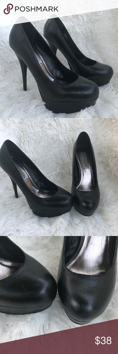 Steve Madden black platform sky high plump sz 7 Omg every girl needs a pair of heels like this one ..Feel free to ask question/ open to offers. Please see pictures as part of the description. Steve Madden Shoes Heels