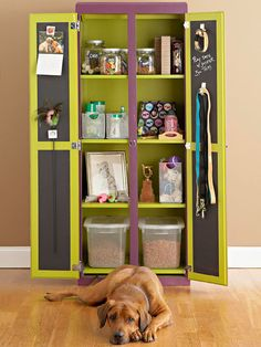 Pet Pantry or anything else pantry and you don't need a new one to do this project....get one from a thrift store and change out the hinges to level the doors....this would be great for kids or storage anywhere...the chalkboard paint only makes it  fun!