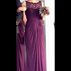 "Plum bridesmaids dress from David's Bridal Sleeveless, long mesh dress with lace bodice in plum from David's Bridal.  Perfect for a wedding, whether in one or attending one as a guest.  Size 0.  Hemmed to fit at 5'3"" with 3 inch heels on.  Worn once!!! David's Bridal Dresses Wedding"