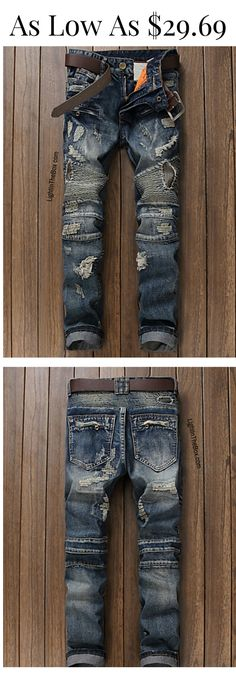 Casual men dark denim jeans at just $29.69. Click on the picture to find your size.