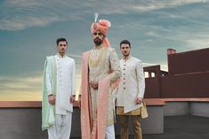 JadeBlue Style Inspirations for a Groom and his Groomsmen. Grooms no longer take second place when it comes to fashion. Groomsmen Outfits, Groom And Groomsmen, Wedding Couples, Boho Wedding, Farm Wedding, Wedding Reception, Sherwani Groom, Achkan, South Indian Weddings