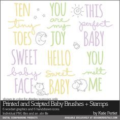Printed and Scripted Baby Brushes and Stamps- Katie Pertiet Brushes- DS170257- DesignerDigitals